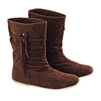 Sepatu Boot Panjang Winter Wanita Cewek Casual BY125 Coklat