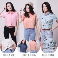 Jual Kemeja Crop Basic Crop Shirt Batwing Shirt Blouse Kemeja Wanita BL1037 Murah