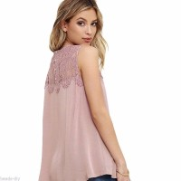 Jual A011 142 Fashion Women Lady Lace Chiffon Sleeveless Summer T shirt C Murah