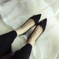 Jual terbaik flatshoes cewek ribbon pitah bludru mo 14 black Murah