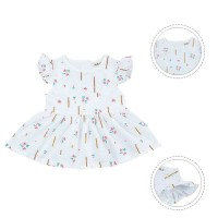 Jual Fashion Anak: Dress Musim Panas Elegan Lengan Melayang Motif Print Sal Murah