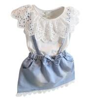 Jual Ready Stock! Summer Baby Girls Ruffles Suspender Mini Dress False 2pcs Murah