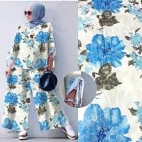H Set Kulot 2in1 Bunga Blouse Celana Setelan Pakaian Muslim Wanita