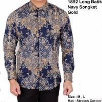 Jual kemeja batik songket navy gold / kemeja batik pria lengan panjang  Murah