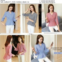 Jual V Neck Grid Blouse (Blouse Import) Murah