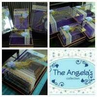 Kotak / Box Hantaran seserahan warna ungu + Gold ( mika renda )