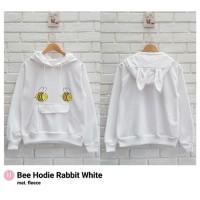 BEE HODIE RABBIT WHITE / PUTIH / SWEATER / JAKET HOODIE / JAKET OBLONG