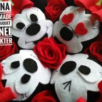 Handbouquet / Bunga Kain Flanel Karakter Minnie Mouse