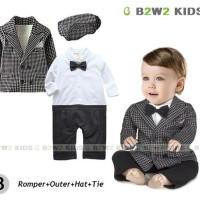 romper bayi laki tuxedo vest jas resmi cowo import branded murah