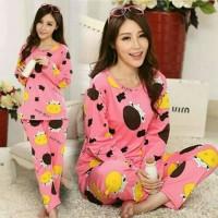 Baju Tidur Wanita / Sleepwear / Setelan Piyama Wanita Dewasa COWY PINK