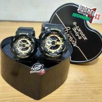 Best Seller Jam Tangan Couple / Pasangan Romantis GA-110 Black Gold