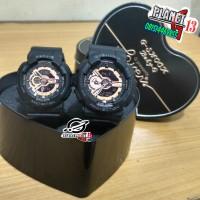 Best Seller Jam Tangan Couple / Pasangan Romantis GA110 Black RoseGold