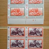 Set lengkap 8 pcs perangko (2 jenis @ 4 pcs) Lukisan Raden Saleh, 1967