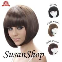 wig bob hair clip 3 pilihan warna rambut pendek nya lembut tid Limited