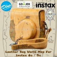 Fujifilm Tas Kamera Instax Mini 8 / 8s / 9 Leather Bag Case World Map