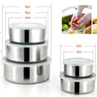 Promo Murah paket 5 pcs panci stainless steel 5 susun tutup plastik -
