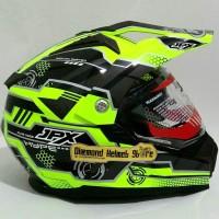 Helm Supermoto Fullface JPX Duke X606 Hype Light Green Fluo Flat Visor