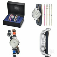 Fossil Georgia Three-Hand Leather Watch and Charm Box Set, ES 4095SET