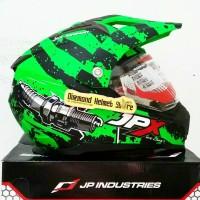 Helm Supermoto Fullface JPX Duke X606 High Engine Green Flat Visor