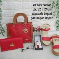 Tas Wanita Paket 5in1 Dior Merah Tas Paket Murah