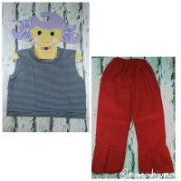 Setelan Celana Merah Baju Kotak Pakaian Anak Perempuan Murah Grosir
