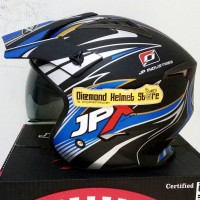 Helm JPX MX 726 motif Wind Blue Black Doff mirip Airoh Trr S