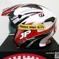 Helm JPX MX 726 motif Wind Red White mirip Airoh Trr S