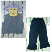 Setelan Celana Navy Baju Kotak Pakaian Anak Perempuan Murah Grosir