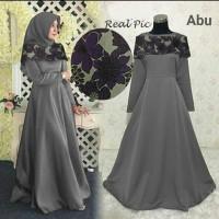 078721 Gamis Pesta Sellis Abu / Baju muslim / Hijab / Maxi / Dress