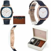 Fossil Idealist Three-Hand Blue Leather Watch and Card Case Box Set, E