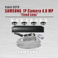 Paket CCTV SAMSUNG, IP Camera 4 MP, 4 Kamera, DVR 4CH dan accessories