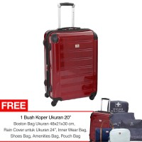 "Swiss Military Hard Case Luggage 24""- Red"