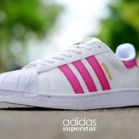 Terbaru Sepatu Adidas Superstar Putih List Pink NMZs:007235