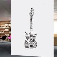 Wall Stiker Musik Gitar Word Cloud Sticker Dinding Kamar Rumah Toko