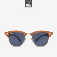 ORIGINAL Ray Ban Clubmaster Wood Sunglasses Cherry Rubber Blue