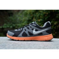 Nike Revolution 2 Black Grey Orange (Swoosh Silver)