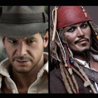 Hot Toys SET DX05 Indiana Jones + DX 06 Jack Sparrow Pirates Caribbean