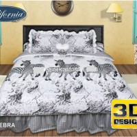 Bed Cover Set California Motif Zebra 180x200 Diskon