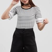Pakaian Wanita Baju Cewek Kaos Tangan Rumbai Putih Salur Garis Clo263