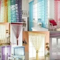 Harga tirai benang motif love unik gorden jendela kamar dekorasi | Pembandingharga.com