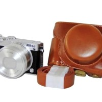 Leather Case For Nikon 1 J5 - COKELAT kamera , camera termurah