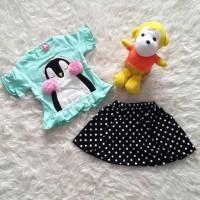 Pusat Baju Bayi Setelan Anak Perempuan Rok Polkadot Penguin Earmuff