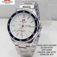 Jam Tangan Pria Swiss Army Day Date Silver Kw Super