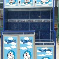 sticker rak piring motif doraemon 3 pintu
