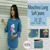 denim jeans levis blouse atasan baju bluss wanita tunik biru moschino