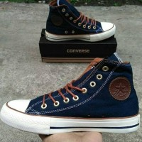 Sepatu Converse Premium Hi Grade Original Navy Sneakers Cewek Cowok