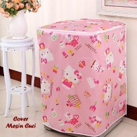 Cover Mesin Cuci HELLO KITTY (Bahan satin tebal, anti air, anti panas)