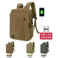 harga Backpack Kanvas Usb Port Tas Ransel Pria Tas Import Bodypack Laptop Tokopedia.com