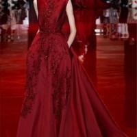 GAUN/ Elie Saab Burgundy Appliques Backless Celebrities Evening Dress