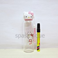 Botol kaca kepala hello kitty